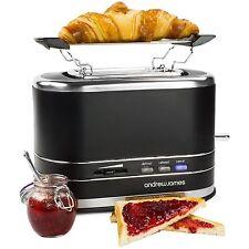 Slice Toaster Andrew James 800-Watt Matt Black with Bagel Warming Rack