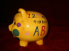 Child's First Piggy Bank Yellow Pig, ABC's and 123's New
