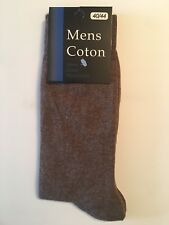 6 Pairs Mens Dress Socks Fashion Casual Solid Brown Cotton Size 10-13