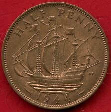 1944 Great Britain Half Penny Coin