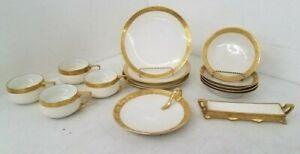 RARE Rosenthal Donatello Partial Set w/ Cups and Bowls, Dessert Plates gold rim