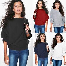 Damen Fledermausärmel Sweater Pullover Sweatshirt Strickpulli Baggy Oberteile DE
