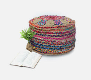 Multi Cotton Handmade Pouf Cover Round 10x20x20 In Natural Jute Pouf Cover Only