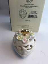 Lenox Creamy Porcelain China Heart & Floral Pierced Covered Trinket Box Nib $52