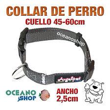 COLLAR PERRO NYLON GRIS AJUSTABLE DE CALIDAD CUELLO 45-60cm L110 3391