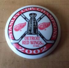 Plastic Detroit Red Wings 2002 Stanley Cup Champions Button Pin No Back 1 1/4""