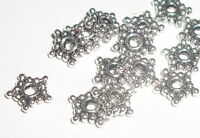 Spacers, Antique silver pewter pentacle 8mm spacer beads -- 130 pieces (0022)