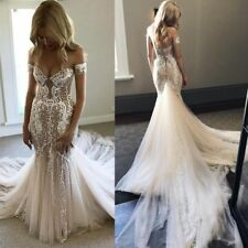 2018 Sexy Wedding Dress Pearl White/Ivory Tulle Mermaid Court Train Bridal Gown