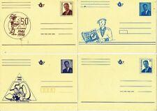 TIMBRE STAMP ZEGEL BELGIQUE 4 CARTES PREOBLITEREES 50 ANS LUCKY LUKE BOB BOBETTE