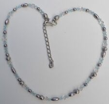 Signed Swan Blue/Clear Swarovski Faceted Crystals / Grey Pearl Necklace 15 - 17""