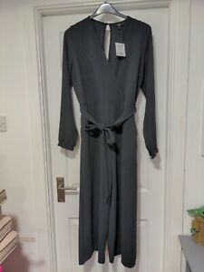 Next Black Stretch Long Sleeve Wide Leg Jumpsuit With Pockets Size 16 BNWT