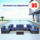 7 Pc Patio Rattan Wicker Sofa Set Garden Furniture Sectional Couch Cushion Table