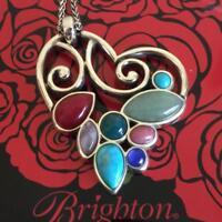 NWT Brighton  MOTHER EARTH  Silver & Multi-colored Stones Heart Necklace