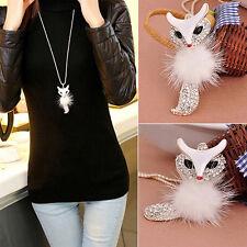 Fox Pendant Rhinestone Inlaid Fur Necklace Long Sweater Chain Hot Gift