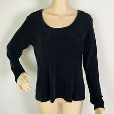 Chico's Travelers Blouse Top Shirt Size 1 Black Crew Neck Long Sleeve Slinky