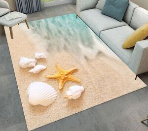 Beach White Shells Starfish Area Rugs Kids Bedroom Carpet Living Room Floor Mat