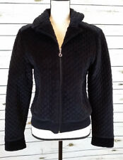 G FACTOR Women's Size Lg Black Quilted Velour Fleece Cotton Zip Jacket Coat EUC.