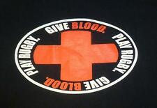 GIVE BLOOD PLAY RUGBY  MENS XL T-SHIRT BLACK - BALLS OUT RUGBY FREE SHIPPING