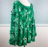 Size 1X Alfani Green Floral Sheer Ruffle Sleeve Top Blouse Shirt Womens Plus New