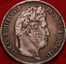 1839 France 5 Francs Silver Foreign Coin