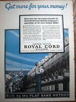 1927 US United states Royal Cord Balloon Car Vehicle TIRES Color Ad