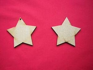 7cm / 7Omm MDF STARS - 10 x LASER CUT MDF WOODEN  SHAPE