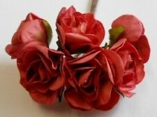 PK 6 SALMON LARGE ROSE FLOWERS FOR CARDS AND CRAFTS