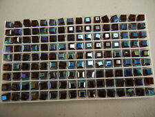 24 swarovski cube shape crystal beads,6mm burgundy AB #5601