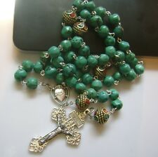 Rare CATHOLIC Beads & Real Turquoise Sterling 925 Silver Rosary Cross Gift Box