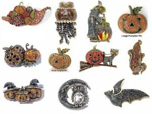 Heidi Daus Pin Pumpkin Trio Bat Witch Owl Cornucopia Price range $44-$99