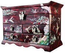 Red jewelry box jewel case organizer 4 drawers with mirror pine & crane #605