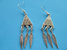 Southwest 6 Feathers EARRINGS Silver TRIANGLE Design Silver Plate Ear Wires NEW!