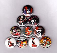 "HARLEY QUINN 1"" PINS BUTTONS (joker batman logos mad love sirens animated series"