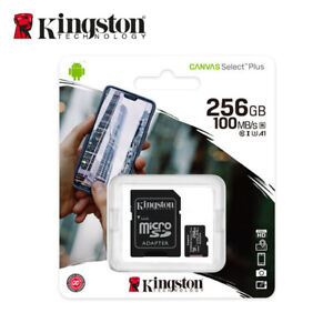 Kingston 256GB MicroSD SDXC Class10 C10 U1 A1 Memory Card TF 100MBs free Adapter