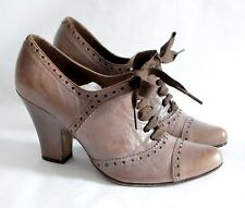 JIGSAW light brown LEATHER lace up brogue heels RIBBON uk4 37 1930's 40's ww2