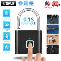 SMART FINGERPRINT DOOR LOCK KEYLESS ANTI-THEFT SECURITY PADLOCK USB RECHARGEABLE