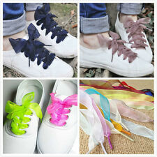 New Flat Silk Shoelaces Dress Canvas Sneaker Boots Sport Shoe Laces String Strap