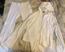 Nike Womens Velour Track Jogging Running Suit Off White XS Pants Large  Hoodie