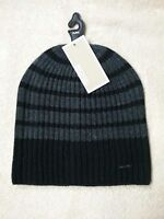 MICHAEL KORS - Men's Women's Unisex Knit Black & Gray Striped Beanie Cap Hat