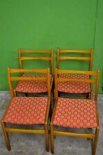 Four Mid Century Retro Kitchen Dining Chairs Solid Teak Wood Orange / Brown