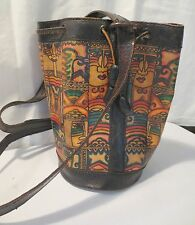 Vtg 70's Large Leather Sling Hippy Bucket Handbag Purse BOHO Tribal Drawstring