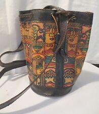Vtg 70's Large Leather Sling Hippy Bucket Handbag Purse Boho Tribal Drawstring