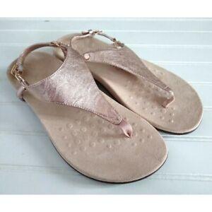 Vionic Kirra Sandals Size 9 Wide T-Strap Rose Gold Pink