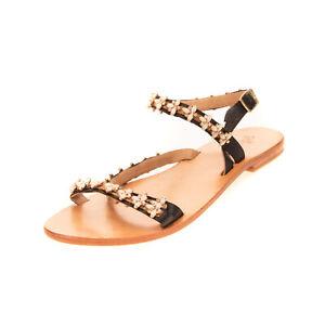 GEI GEI Leather Ankle Strap Sandals Size 40 UK 7 US 10 HANDMADE Rhinestones
