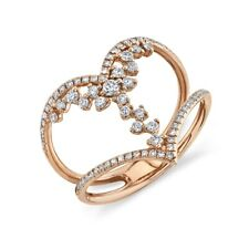 Curve Band Connecting Cocktail Statement 0.46 14K Rose Gold Round Diamond Ring 2