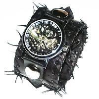 BLACK Leather Watch Wrist band Bracelet Steampunk GOTHIC-Mechanical-45mm wide