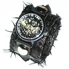Pelle Nera Orologio da polso Band Bracciale Steampunk gothic-mechanical-45mm Wide