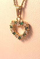 Vintage .21CT Emerald .21CT Diamond Heart  Pendant 14K Gold Child Baby