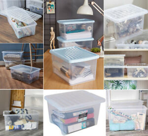 Transparent Plastic WHAM Crystal Clear Home & Kitchen Storage Box With Lids New