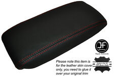 RED STICH NON SLIDING ARMREST LID LEATHER SKIN COVER FITS JAGUAR X-TYPE 01-09